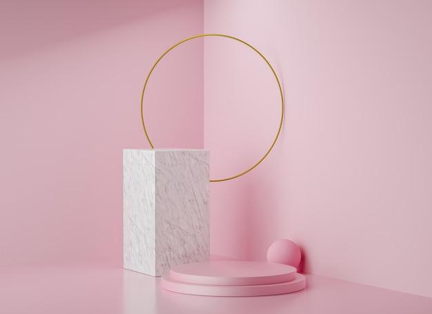 Sfondo di visualizzazione fase di rendering 3d, anello d'oro, supporto in marmo e supporto rosa