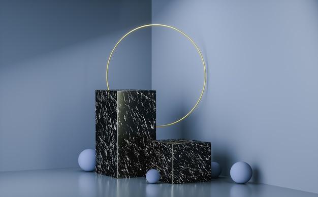 Sfondo di visualizzazione fase di rendering 3d, anello d'oro, supporto in marmo