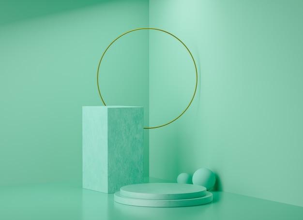 Sfondo di visualizzazione fase di rendering 3d, anello verde e dorato