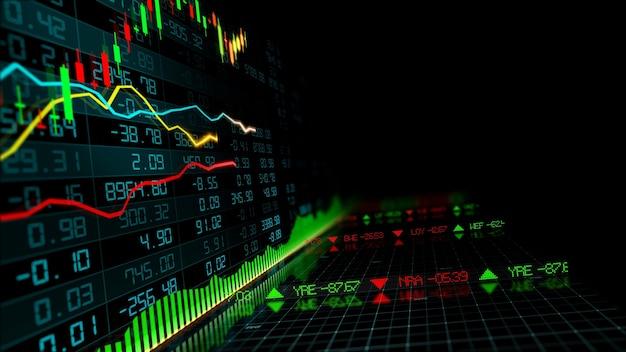 Rendering 3d di indici azionari nello spazio virtuale