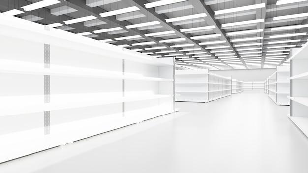 Rendering 3d. negozio interno supermercato con ripiani.