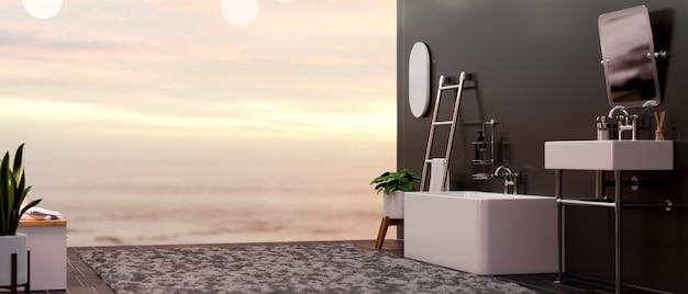Rendering 3d, interni moderni ed eleganti del bagno con vasca, lavabo, accessori da bagno e vista cielo vaniglia sullo sfondo, illustrazione 3d