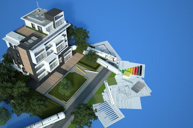 Rendering 3d di un modello di architettura di un edificio sostenibile con schemi, grafico di efficienza energetica e altri documenti su sfondo blu