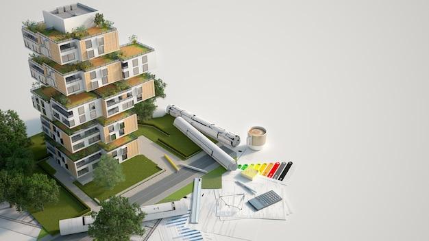Rendering 3d di un modello di architettura edilizia sostenibile con progetti, grafico di efficienza energetica e altri documenti