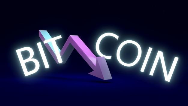 Rendering 3d del testo bitcoin con una freccia rivolta verso il basso nel mezzo della parola sullo sfondo
