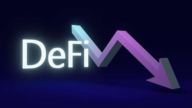 Testo di rendering 3d defi con una freccia rivolta verso il basso sullo sfondo del concetto di finanza decentralizzata