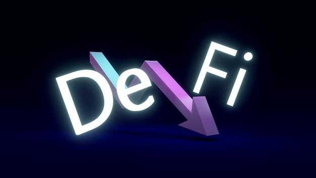 Testo di rendering 3d defi con una freccia rivolta verso il basso nel mezzo del concetto di finanza decentralizzata