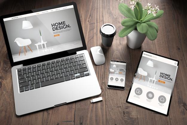 Rendering 3d di tre dispositivi con sito web di interior design di directory reattivo sullo schermo sulla vista dall'alto del desktop in legno