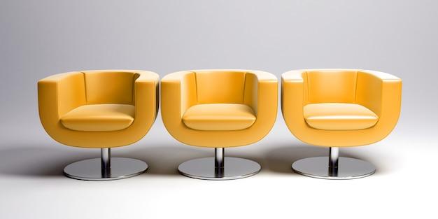 Rendering 3d di tre moderne poltrone in pelle gialla di fila