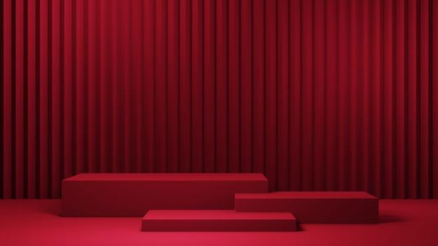 Rendering 3d di tre podi quadrati rossi per la visualizzazione di prodotti sullo sfondo della stanza rossa. mockup per prodotto da esposizione.