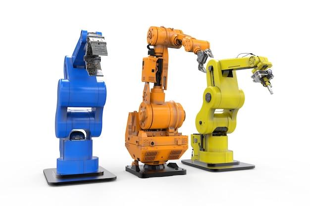 Rendering 3d di tre bracci robotici in fila