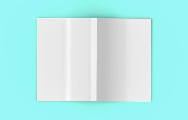 Rendering 3d. vista dall'alto di un libro copertina vuota di diffusione grigia su sfondo di colore blu morbido.