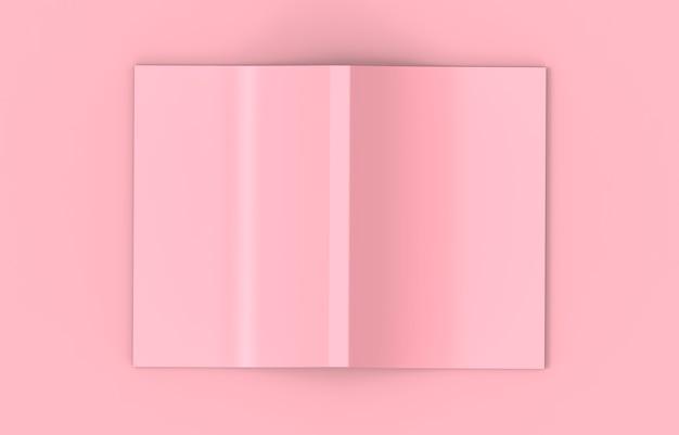 Rendering 3d. vista dall'alto di un rosa tenue diffusione di copertina vuota su sfondo di colore rosa.