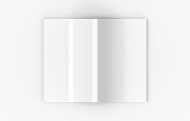 Rendering 3d. vista dall'alto di una diffusione di copertina vuota libro su sfondo bianco.
