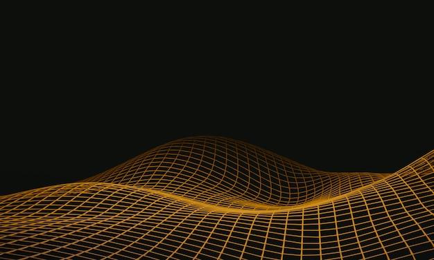 Wireframe di montagna topografica di rendering 3d