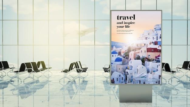 Rendering 3d di pubblicità di viaggio sulla lounge dell'aeroporto