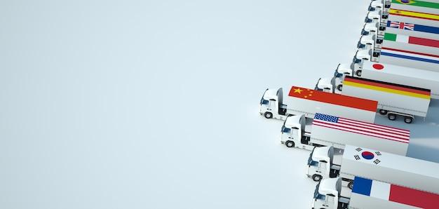 Rendering 3d di una flotta di camion con bandiere diverse