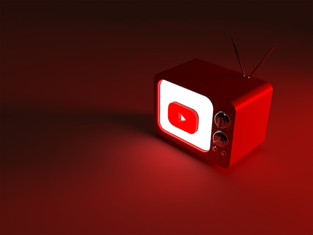 Rendering 3d di una tv con logo youtube luminoso