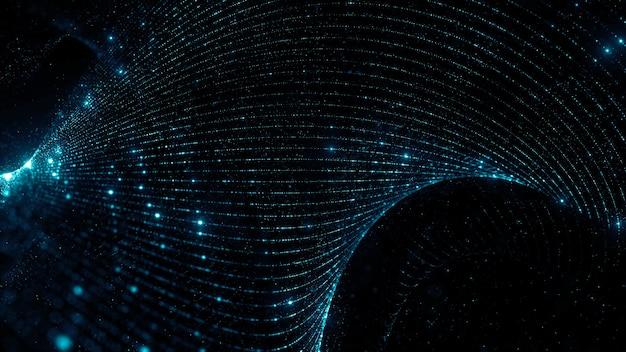 Rendering 3d di sfondo di particelle contorte con profondità di campo