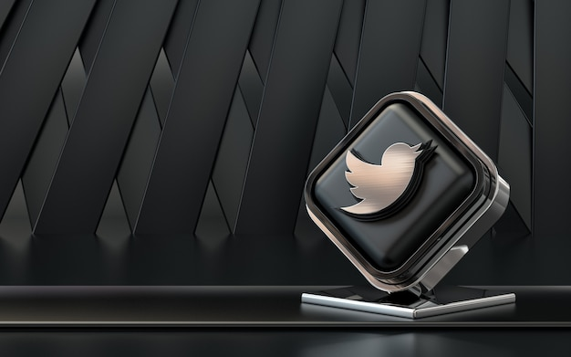 3d rendering icona twitter social media banner sfondo astratto scuro