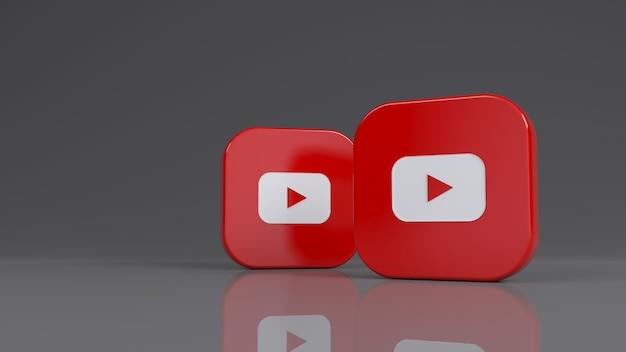 Rendering 3d di due badge quadrati youtube su sfondo grigio