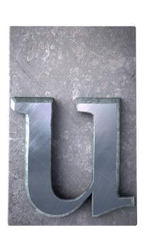 Rendering 3d di una lettera u in stampa dattiloscritta metallica