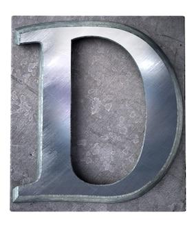 Rendering 3d di una lettera d maiuscola in stampa dattiloscritta metallica