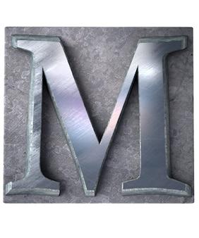 Rendering 3d di una lettera m maiuscola in stampa dattiloscritta metallica
