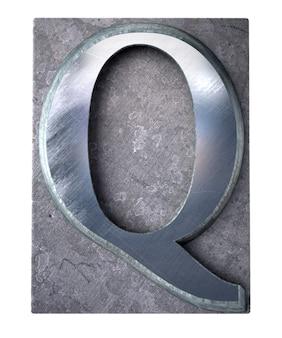 Rendering 3d di una lettera q maiuscola in stampa dattiloscritta metallica