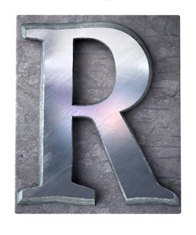 Rendering 3d di una lettera r maiuscola in stampa dattiloscritta metallica