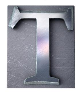 Rendering 3d di una lettera t maiuscola in stampa dattiloscritta metallica