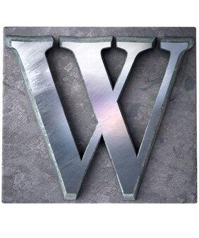 Rendering 3d di una lettera w maiuscola in stampa dattiloscritta metallica