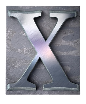 Rendering 3d di una lettera x maiuscola in stampa dattiloscritta metallica