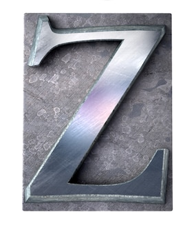 Rendering 3d di una lettera z maiuscola in stampa dattiloscritta metallica