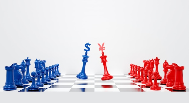 Rendering 3d per la guerra commerciale usa e cina con dollaro e yuan sugli scacchi