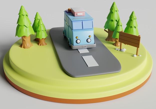 Furgone di rendering 3d con albero di pino