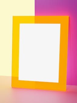 Rendering 3d colori vivaci cornice per foto in acrilico fluorescente o incandescente messaggio o annuncio