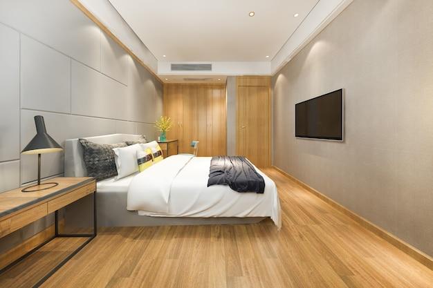 Suite camera da letto minima vintage rendering 3d in hotel con tv