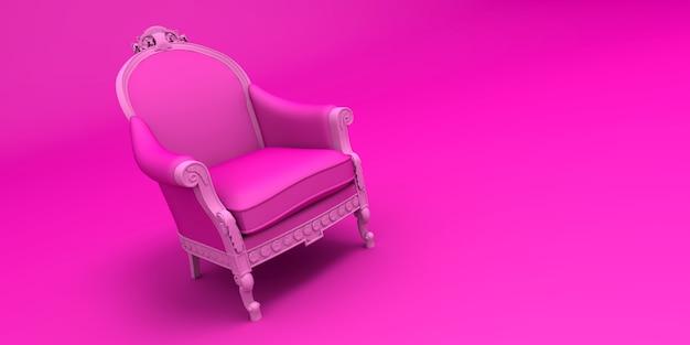 Rendering 3d di una sedia ornato d'epoca in tonalità rosa