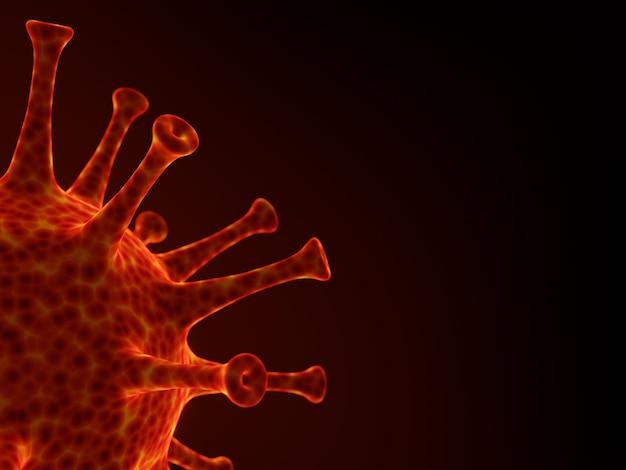 Rappresentazione 3d. mutazione virale. pandemia di covid-19 microscopica rossa.