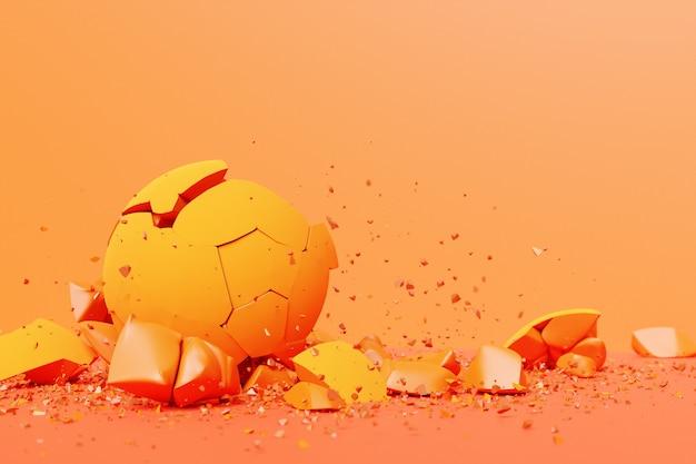 Rendering 3d di una forma volumetrica di una palla. la geometria delle forme che si scompongono in piccoli pezzi. forme casuali.