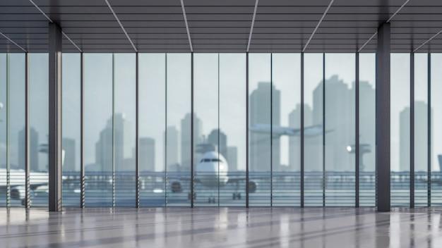 Area di attesa della rappresentazione 3d all'illustrazione del terminale di aeroporto