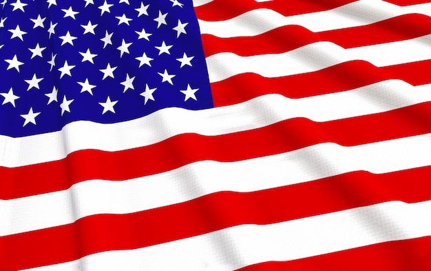Rendering 3d. sventolando sfondo muro di bandiera nazionale degli stati uniti d'america.
