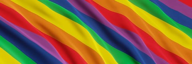 Rendering 3d bandiera arcobaleno ondulata colore lgbtq