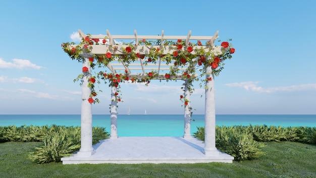 Padiglione per matrimoni rendering 3d con sfondo mare sea