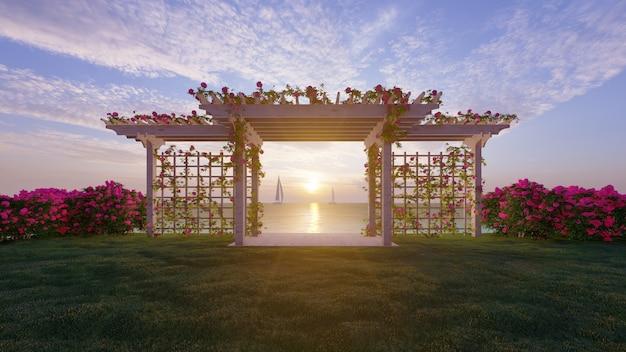 Padiglione per matrimoni rendering 3d con sfondo tramonto sul mare