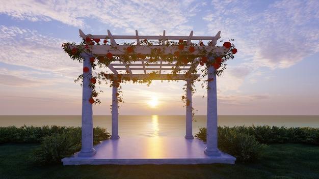 Padiglione di weddint della rappresentazione 3d con il fondo di tramonto del mare