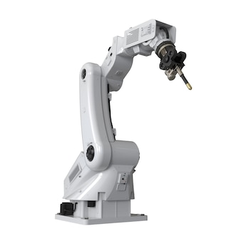 3d rendering saldatura braccio robotico isolato su sfondo bianco Foto Premium