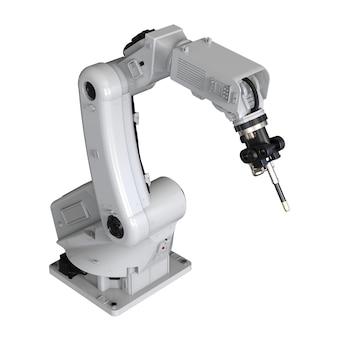 3d rendering saldatura braccio robotico isolato su sfondo bianco
