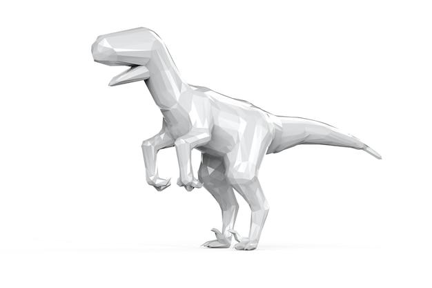 3d rendering whire dinosauro poligonale isolato su bianco